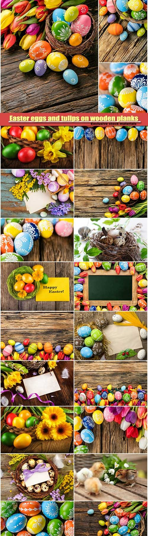 Easter eggs and tulips on wooden background #4