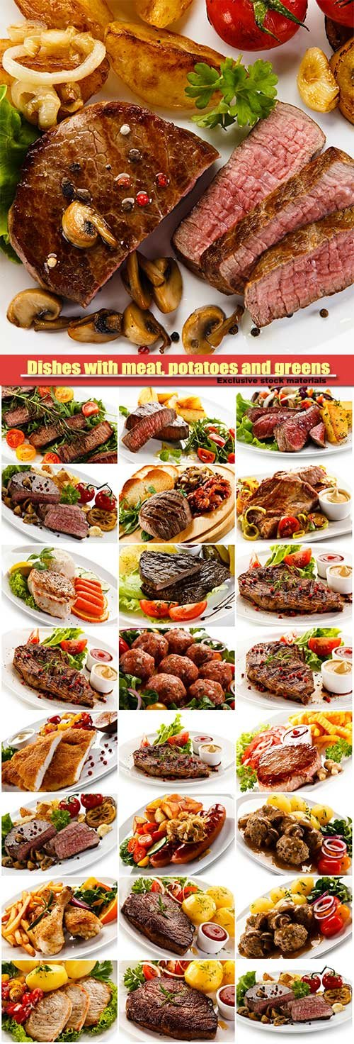 Dishes with meat, potatoes and greens