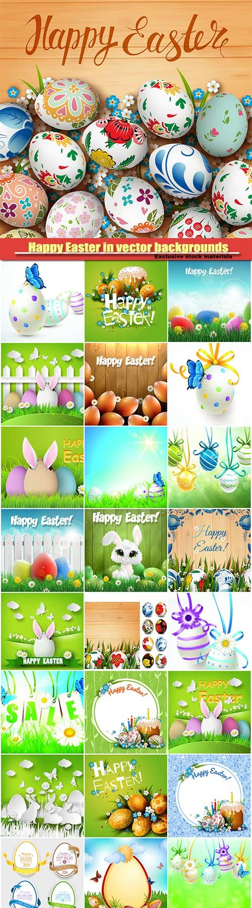 Happy Easter in vector backgrounds
