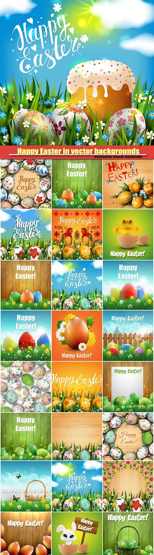 Happy Easter in vector holiday backgrounds