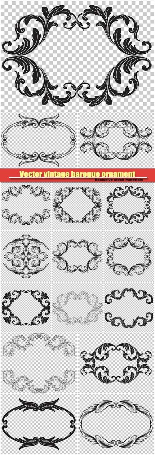 Vector vintage baroque ornament retro pattern antique style acanthus