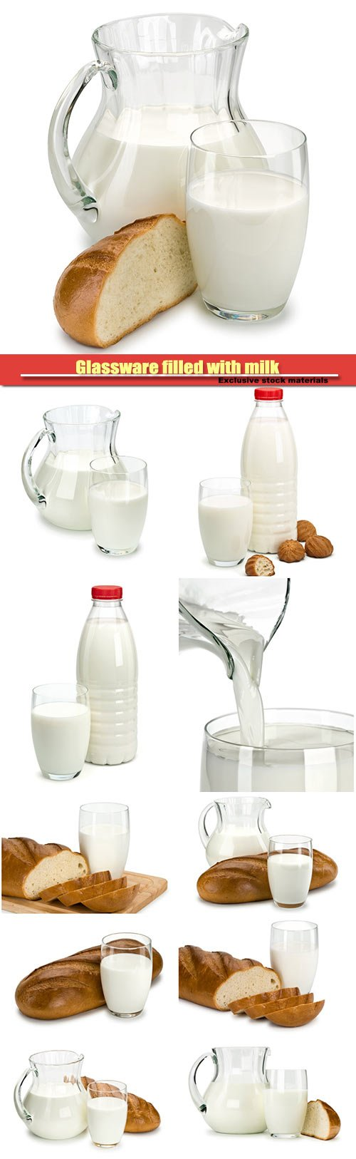 Glassware filled with milk and a white loaf long loaf