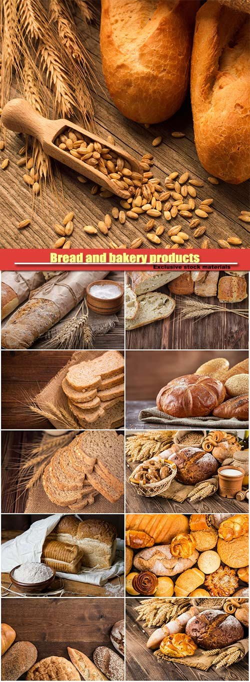 Bread and bakery products on a wooden background