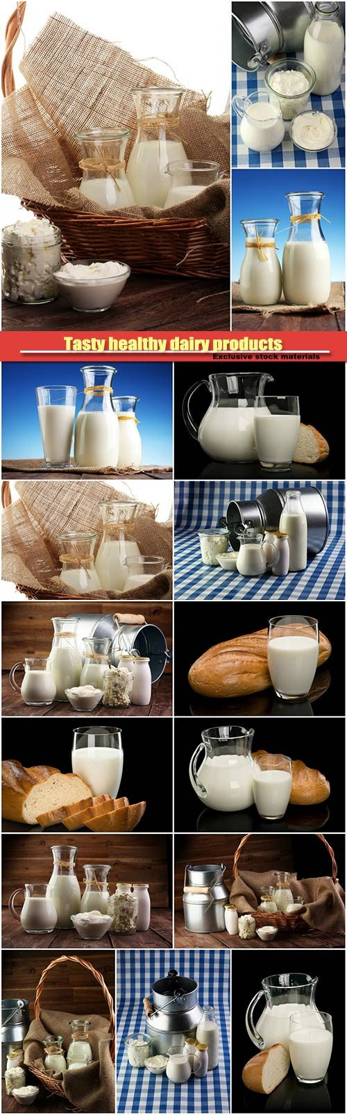 Tasty healthy dairy products, milk products