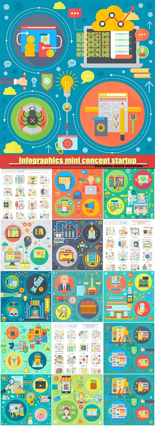 Infographics mini concept startup and development, computer protection icons for web, law and justice design concept with judge
