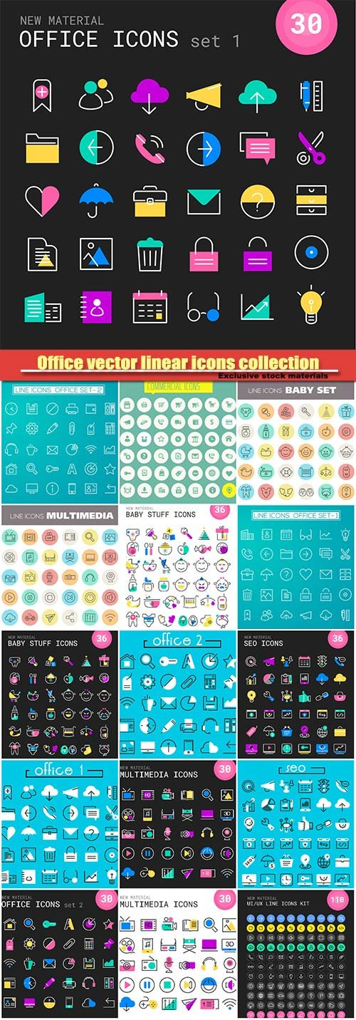 Office vector linear icons collection