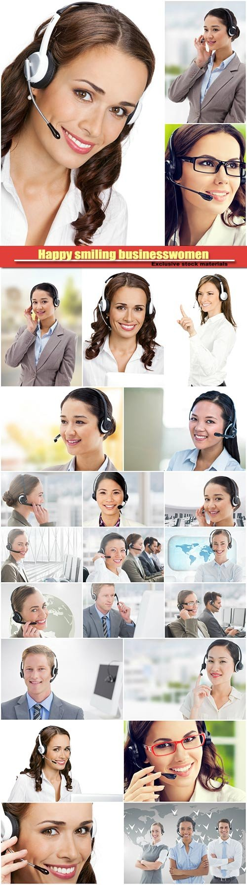 Happy smiling businesswoman and businessmen operator or call center worker