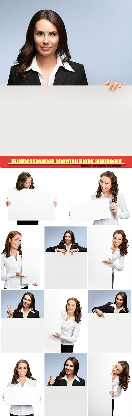 Businesswoman showing blank signboard
