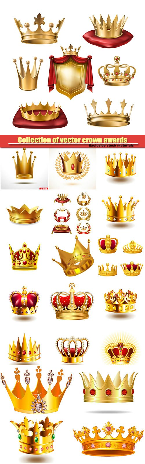 Collection of vector crown awards for winners of competitions, design elements for a label, certificate, diploma