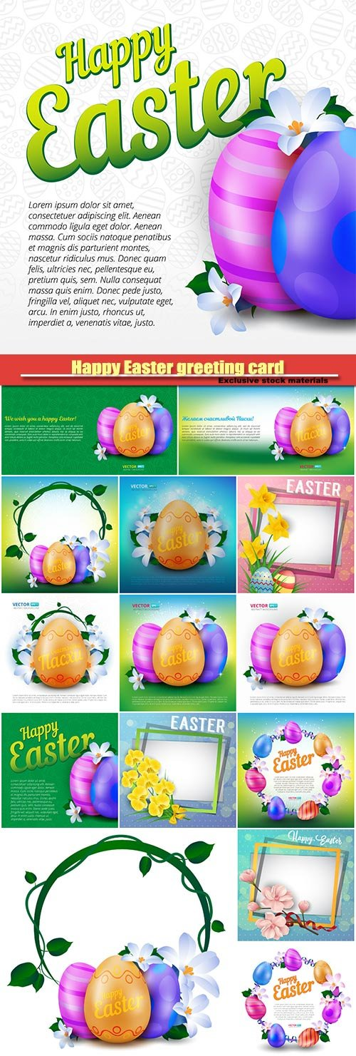 Happy Easter greeting card with colorful eggs and spring flowers