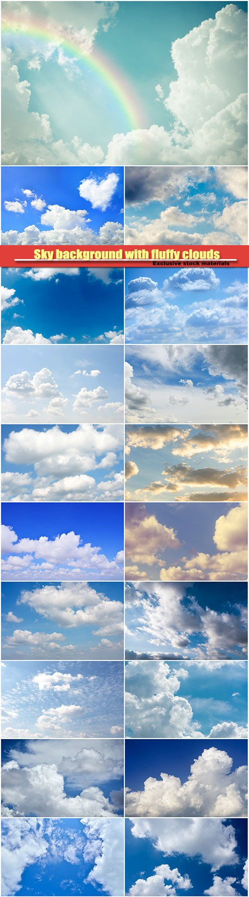 Sky background with fluffy clouds, cloudscape pattern, copy space