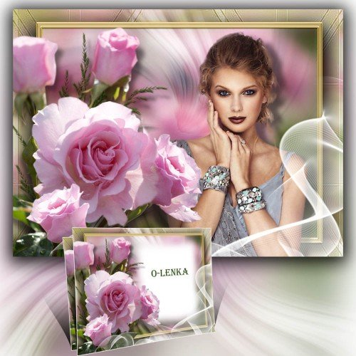 Рамка для фотошопа - Розовая роза, аромат весны