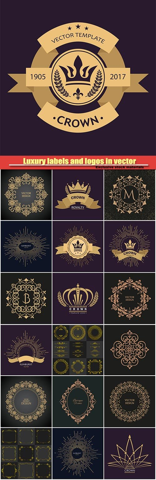 Luxury labels and logos in vector, vector frames