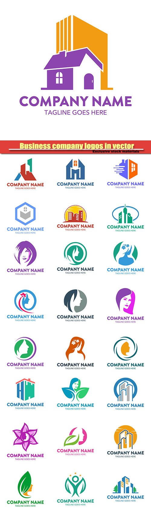 Business company logos in vector