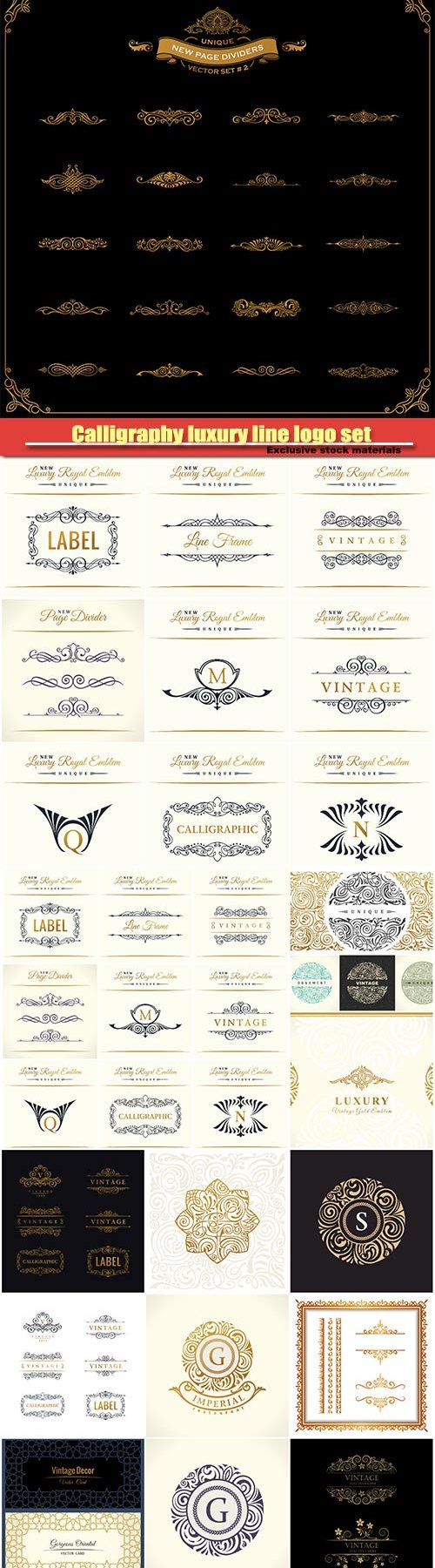 Calligraphy luxury line logo set, gold frame, emblem monogram, vintage design