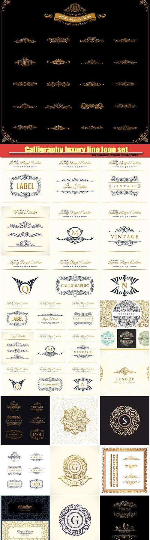 Calligraphy luxury line logo set, gold frame, emblem monogram, vintage design