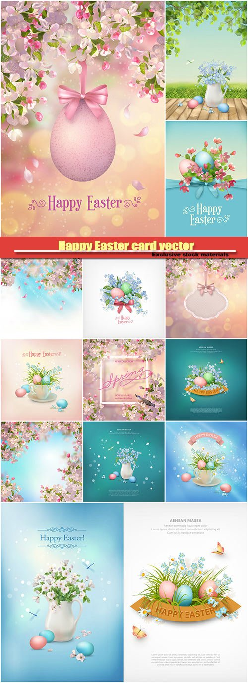 Happy Easter card vector background, blooming tree branch in springtime