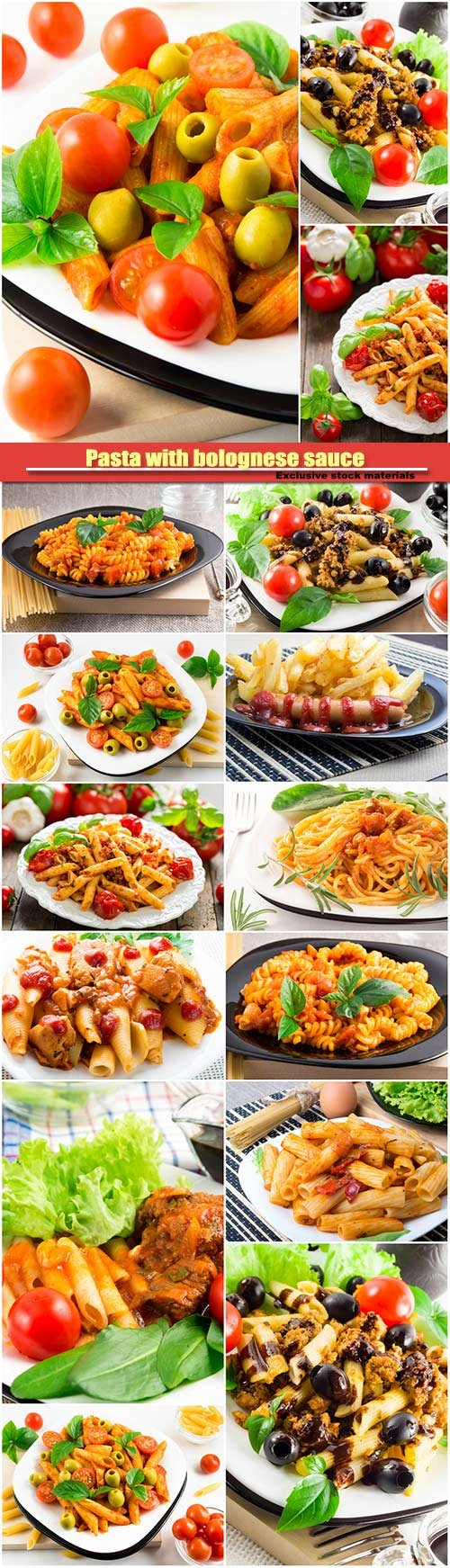 Pasta with bolognese sauce, beef meat, olives and cherry
