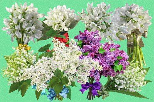 Клипарт Букетики весенних цветов