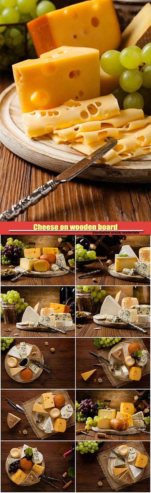 Cheese on wooden board