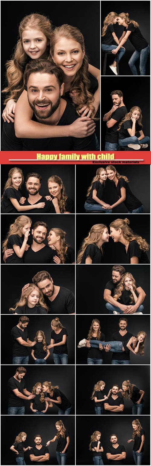 Happy family with child wearing black background