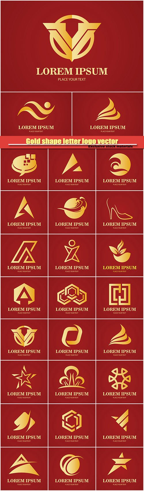 Gold shape letter logo vector