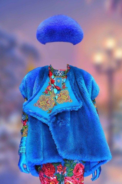Шаблон для фотошопа женский – В синем полушубке