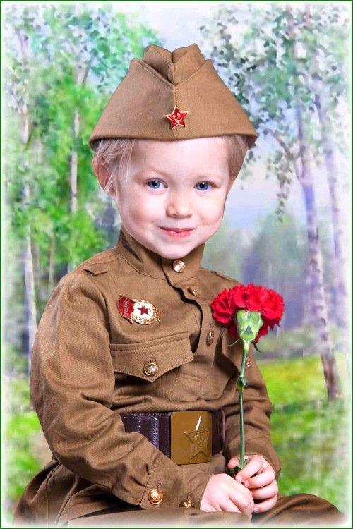 Детский шаблон для фотомонтажа – В костюме военного