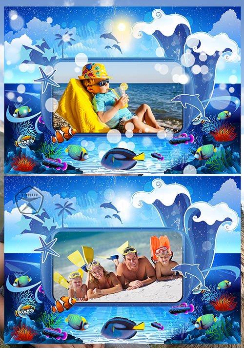 Морская рамка - морской коллаж