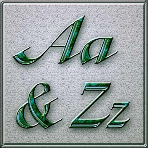 Русский и английский алфавиты из зеленого гранита