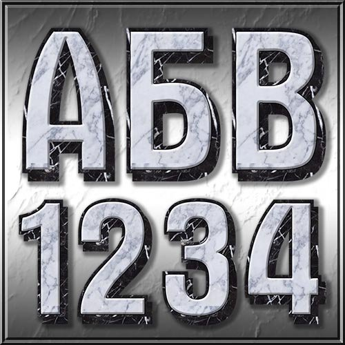 Русский алфавит из белого мрамора