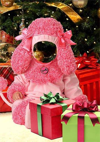 Детский фотошаблон - Розовый пудель возле елки