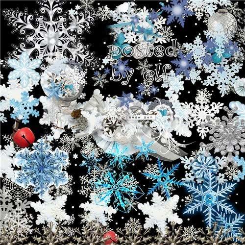 Клипарт без фона - Летают снежинки, почти невидимки