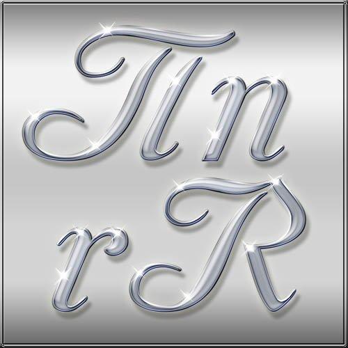 Русский и английский серые алфавиты с бликами