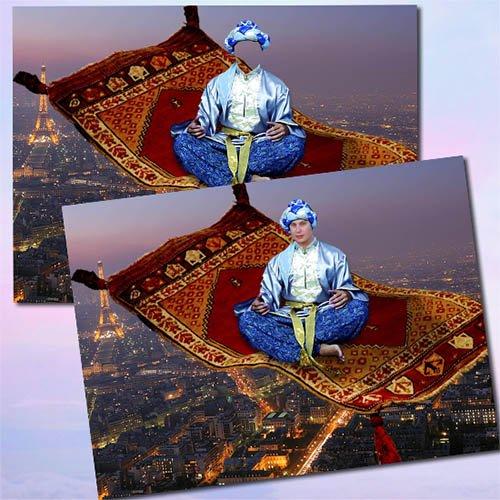 Мужской шаблон для фотошопа - Джин на ковре-самолете
