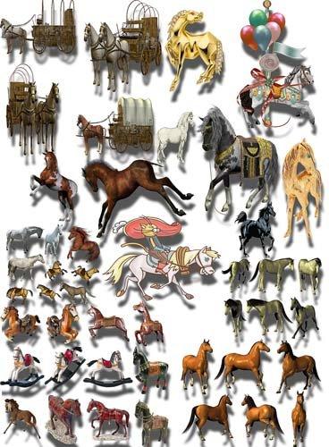 Клипарты для фотошопа - Кони и лошади