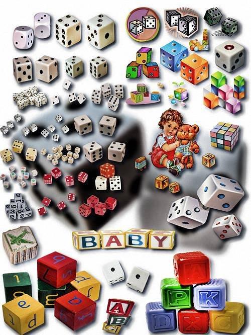 Png на прозрачном фоне - Детские кубики и кости