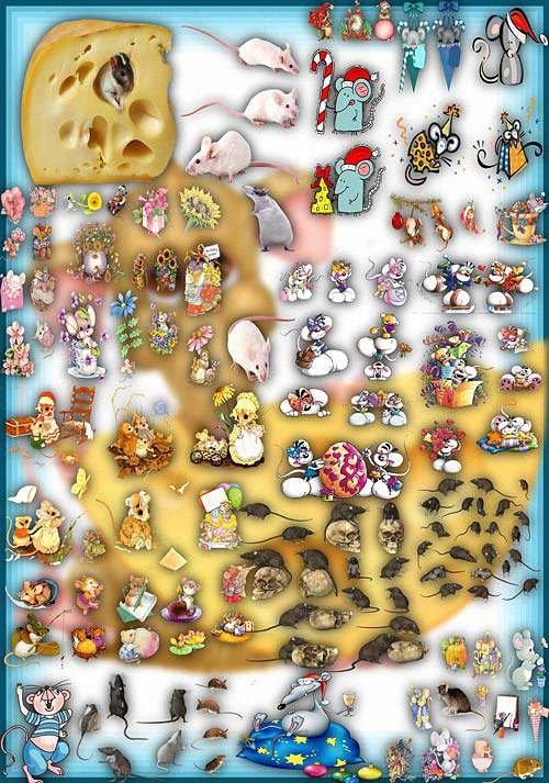 Фотошоп Png клипарты - Серые и белые мыши