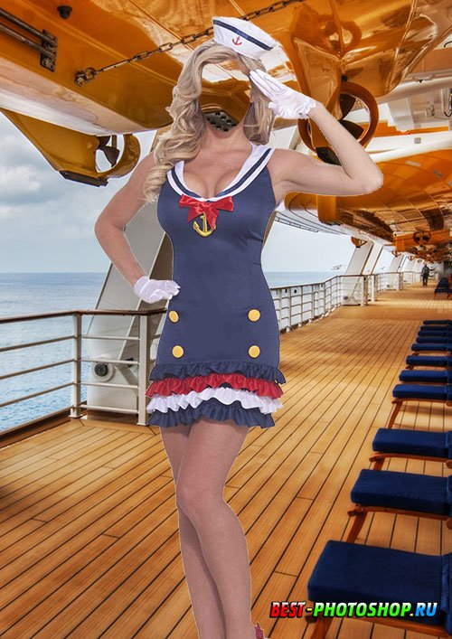 Женский шаблон для фотошопа - Прекрасная морячка