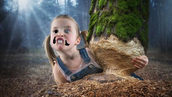 Вставить лицо в рамку - Девочка бобер
