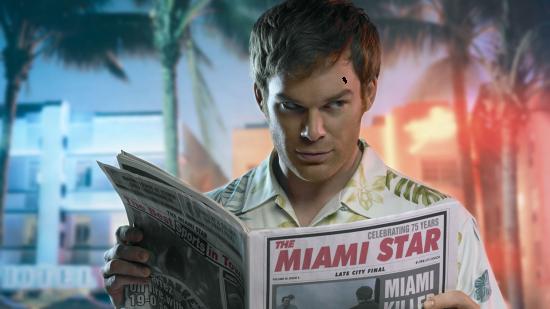 Вставить лицо в рамку онлайн - Декстер читает газету