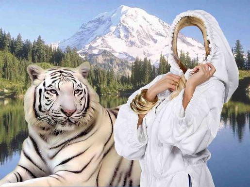 Вставить лицо в фото - Девушка и тигр