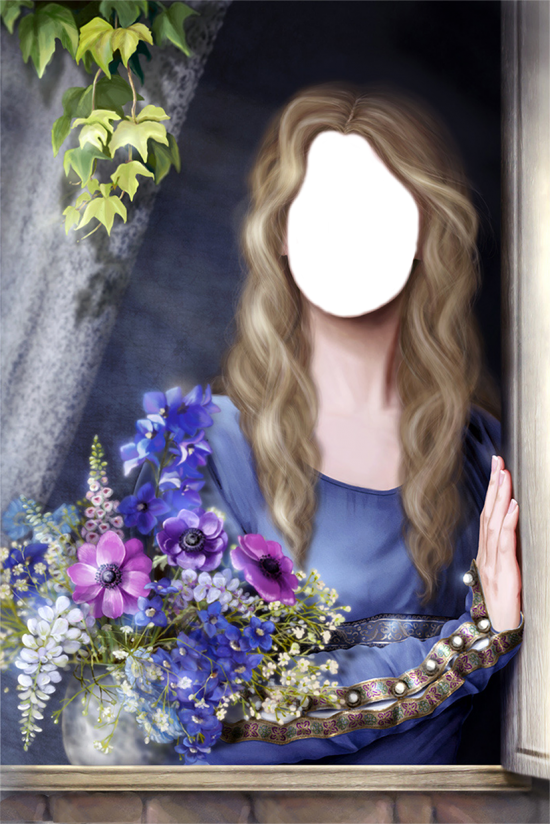 Вставить лицо онлайн - Дама с цветами