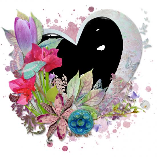 Рамка для фото онлайн - Цветы и сердце