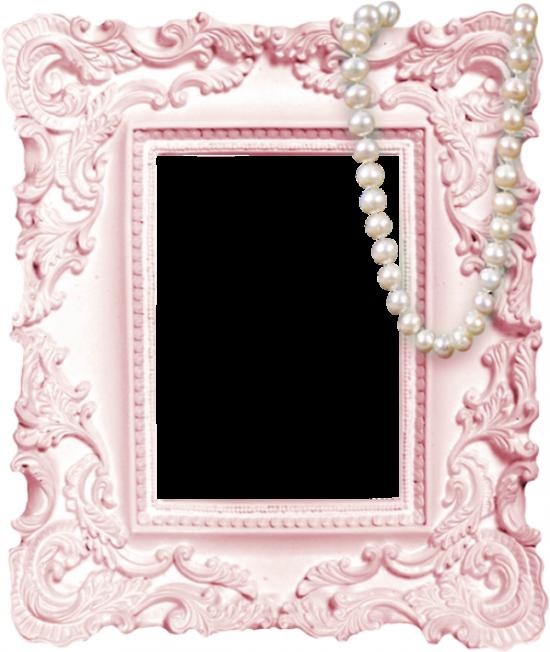 Рамка для фото онлайн - Розовая рамка с бусами