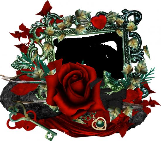 Рамка для фото онлайн - Роза и лягушка