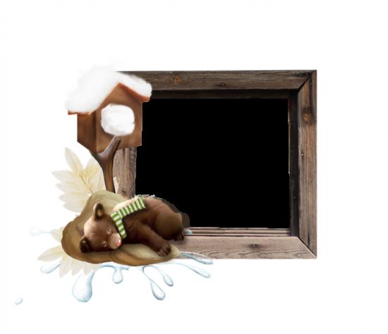 Рамка для фото онлайн - Мишутка в зимней спячке