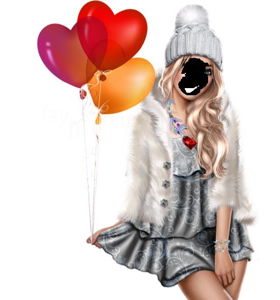 Вставить лицо онлайн - Девушка с шариками