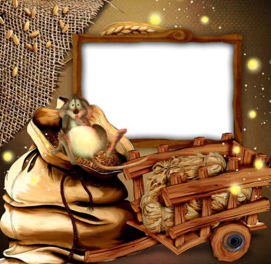 Онлайн рамки для фото - Мышь на зерне