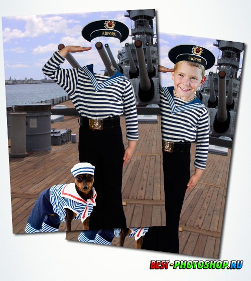 Шаблон мальчика в морской форме на корабле
